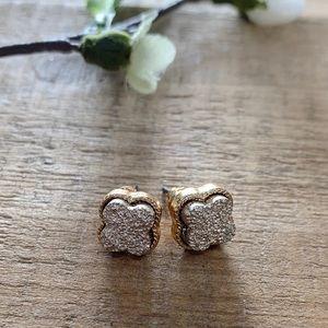 Druzy Post Earrings-Rose Gold